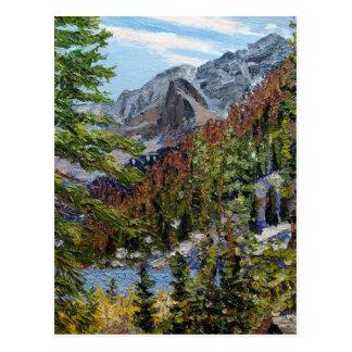 Pintura de paisaje del aceite del lago mountain tarjeta postal