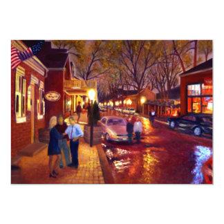 Pintura de paisaje del aceite del paisaje urbano invitacion personalizada
