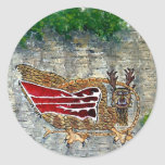 Pintura de paisaje del aceite del pájaro de Piasa Pegatina Redonda