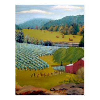 Pintura de paisaje del aceite del viñedo de postales