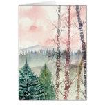 pintura de paisaje del árbol de abedul felicitacion