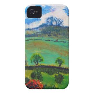 Pintura de paisaje del campo de Devon Inglaterra iPhone 4 Cárcasas