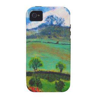 Pintura de paisaje del campo de Devon Inglaterra iPhone 4 Carcasa