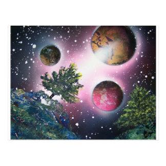 Pintura de paisaje del espacio del arte de la postales
