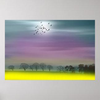 Pintura de paisaje escocesa de la fantasía casera posters