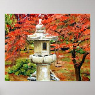 Pintura de paisaje japonesa del aceite del jardín póster