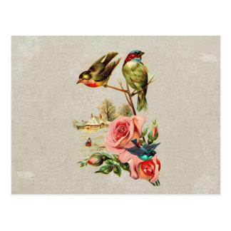 Pintura de paisaje linda de los pájaros y de los postal