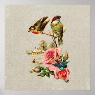 Pintura de paisaje linda de los pájaros y de los r póster