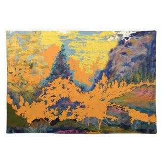 Pintura de paisaje occidental de los álamos manteles individuales