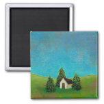 Pintura de paisaje pacífica del arte pionero de la iman de nevera