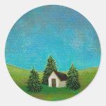 Pintura de paisaje pacífica del arte pionero de la etiquetas