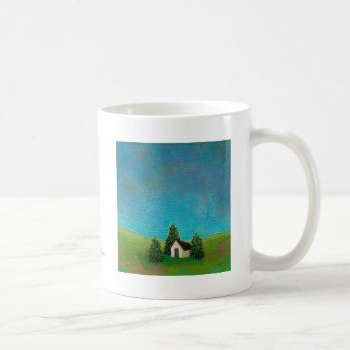 Pintura de paisaje pacífica del arte pionero de la tazas de café