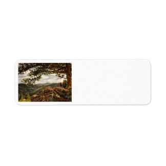 Pintura de paisaje rocosa del aceite del Mountain  Etiquetas De Remite