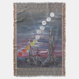 Pintura de paisaje surrealista oscura con las manta
