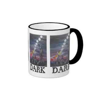 Pintura de paisaje surrealista oscura con las taza de dos colores