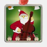Pintura de Papá Noel que toca el violoncelo con Adorno Navideño Cuadrado De Metal