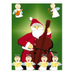 Pintura de Papá Noel que toca el violoncelo con Postales