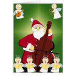 Pintura de Papá Noel que toca el violoncelo con Felicitación