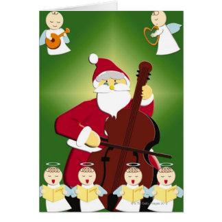 Pintura de Papá Noel que toca el violoncelo con Tarjeta De Felicitación