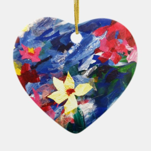 Pintura de papel del arte del collage de Arcylic Adorno Navideño De Cerámica En Forma De Corazón