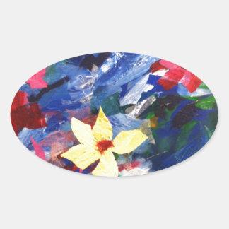 Pintura de papel del arte del collage de Arcylic Pegatina Ovalada