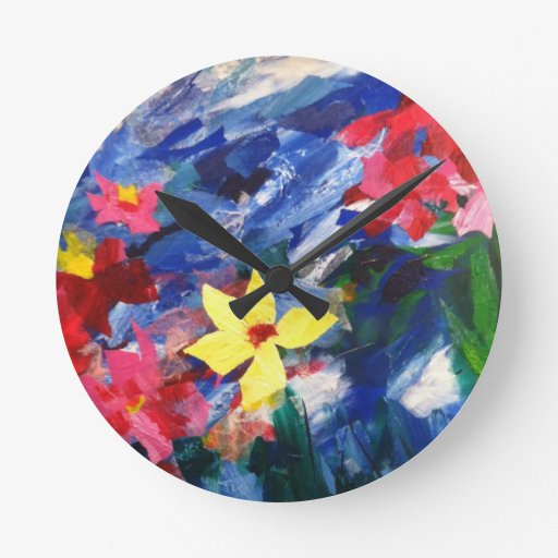 Pintura de papel del arte del collage de Arcylic Reloj De Pared