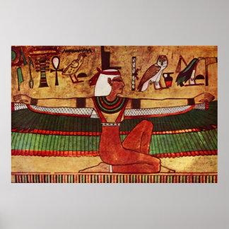 Pintura de pared egipcia de ISIS de la diosa 1360  Poster