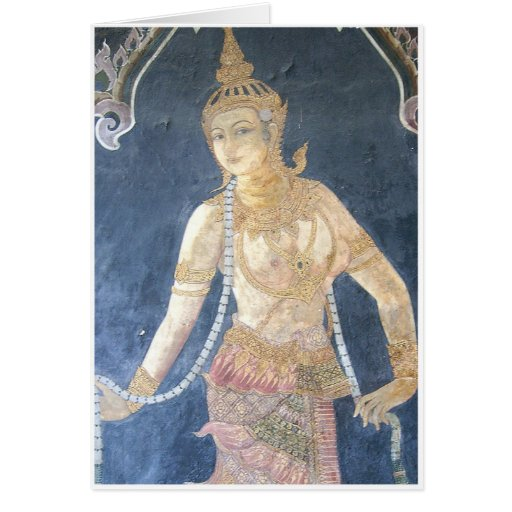 Pintura de pared femenina tailandesa tarjetas