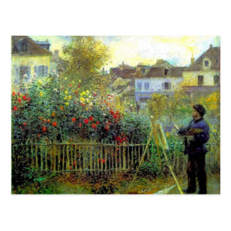 Pintura de Pedro Renoir- Monet en su jardín Tarjetas Postales