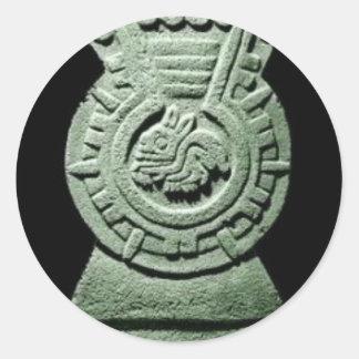 Pintura de piedra maya del compañero del conejo de pegatina redonda