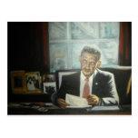 Pintura de presidente Obama por el ciervo Postal