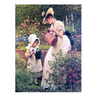 Pintura de riego de las flores de la hija de la ma postales