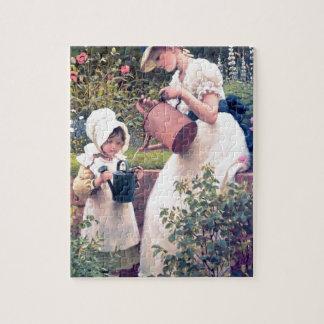 Pintura de riego de las flores de la hija de la ma rompecabeza con fotos