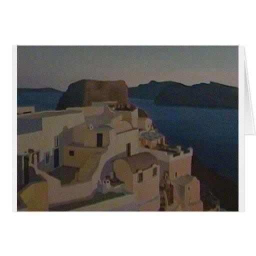 Pintura de Santorini (diseño de Caroline Dimond) Tarjetón