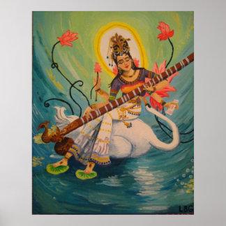 Pintura de Saraswati Póster