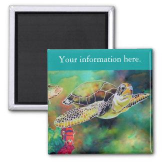 Pintura de seda de la tortuga de mar verde imán cuadrado