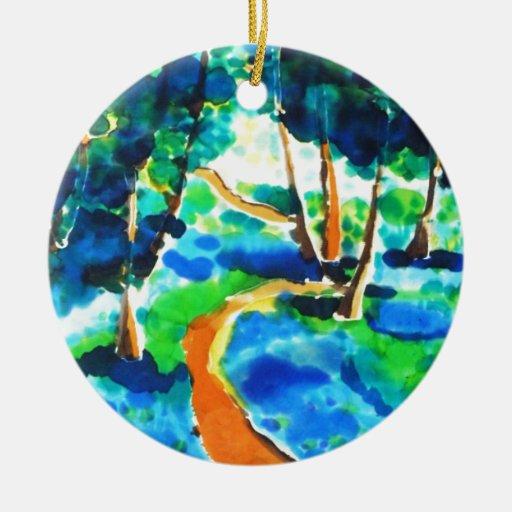 Pintura de seda de maderas de la trayectoria de la ornamento para arbol de navidad