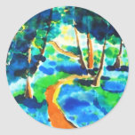 Pintura de seda de maderas de la trayectoria de la pegatina redonda