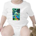 Pintura de seda de maderas de la trayectoria de la trajes de bebé