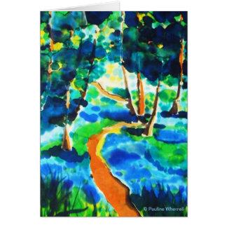 Pintura de seda de maderas de la trayectoria de la tarjeta de felicitación