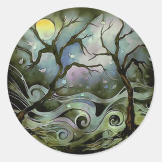pintura de seda del arte de la Luna Llena de la Pegatina Redonda