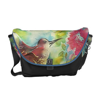 pintura de seda del arte del colibrí colorido bolsa messenger