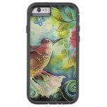 Pintura de seda del arte del colibrí colorido funda de iPhone 6 tough xtreme