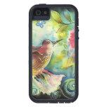 Pintura de seda del arte del colibrí colorido iPhone 5 protectores