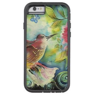 Pintura de seda del arte del colibrí colorido funda para  iPhone 6 tough xtreme
