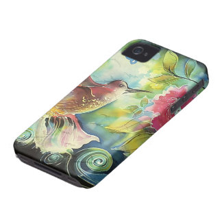Pintura de seda del arte del colibrí colorido iPhone 4 protector