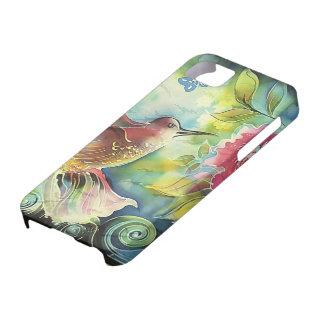 Pintura de seda del arte del colibrí colorido iPhone 5 carcasa