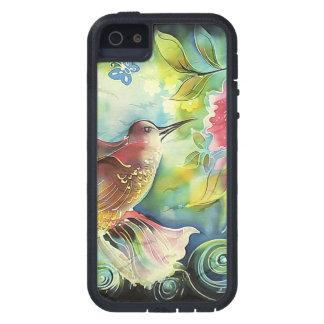 Pintura de seda del arte del colibrí colorido iPhone 5 fundas