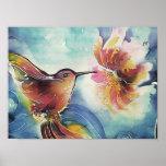 Pintura de seda del arte del colibrí y de la flor posters