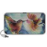 Pintura de seda del arte del colibrí y de la flor PC altavoces